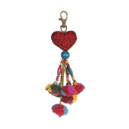 Schlüssel -  Anhänger mit Herz, Perlen und Pom-Poms
