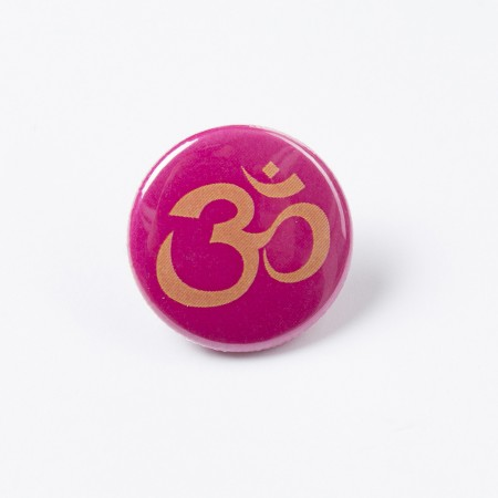 """Button """"OM"""" - Orange auf knalligem Pink"""