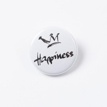 """Button """"Happiness"""" Krone schwarz auf weiß"""