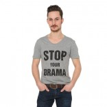 Graues Herren-Shirt: Stop your drama!