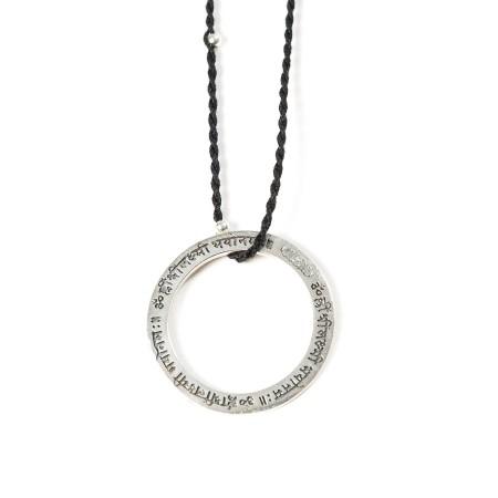 Mantra Amulette Silber Gayatri mit schwarz/silber Band