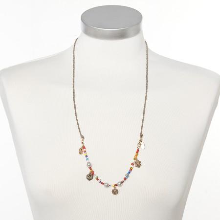Lederkette mit Africa Beads und Mutter Gottes von Chaingang