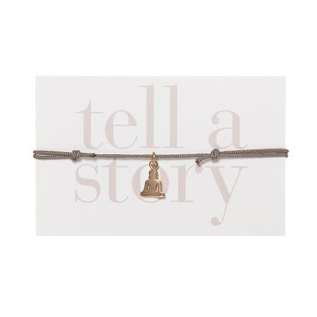TELL A STORY - Armband Olive / Grau Buddha gold von Chaingang