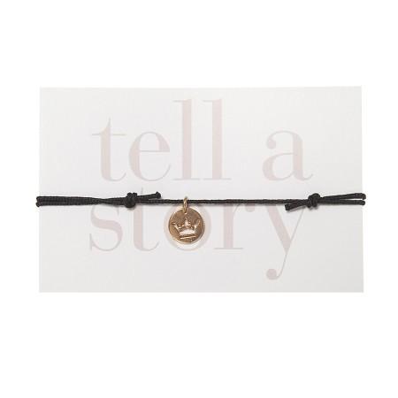 TELL A STORY - Armband Schwarz Krone Gold von Chaingang