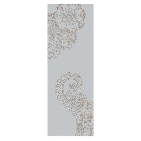 bedruckte Yogamatte Deva Lounge mit Ornament grau